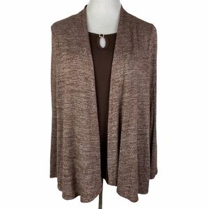 White Stag Brown Open Front Long Sleeve Cardigan